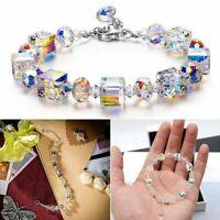 Lovely Romance Cube Crystal Bracelet Stretch Adjustable Bracelet Women Jewelry