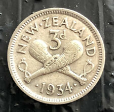 NEW ZEALAND 1934 3 PENCE SILVER  VERY NICE COIN L3