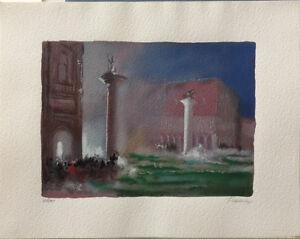 GINO TRAME serigrafia ritoccata a mano Venezia 48x38 firmata numerata 128/150  D