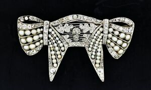 Art Deco Platinum Gold 3 tcw Diamond Old Miner Rose Cut Seed Pearl Bow Brooch