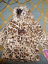 New Girls Infant Pistachio Faux-Fur cheetah Jacket Size 4T Msrp $70.00