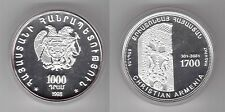 ARMENIA – RARE SILVER 1000 DRAM COIN 1998 YEAR KM#85 1700th YEARS CHRISTIANITY