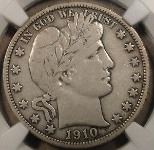 1910 Barber Half Dollar 50c NGC Certified VF20