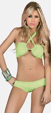 D2T Sexy Green 2 Pieces Bra Set Bandeau Swim Swimsuit Bikini Womens Small Medium