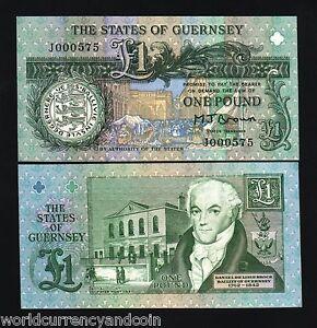 GUERNSEY 1 POUND P52 a 1991 X 10 PCS LOT ROYAL COURT UNC MONEY BILL BANK NOTE