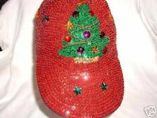 RED CHRISTMAS BASEBALL HAT CAP ALL SEQUINS! SOCIETY GIFT !