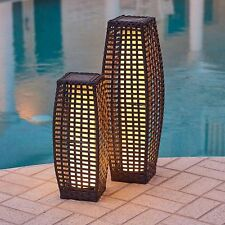 Set of 2 Espresso Brown Wicker Solar Lanterns Outdoor Patio Lighting Lights