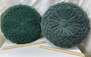2 Vintage Round Velvet Pleated Vintage Couch Pillows Both Different Green Color