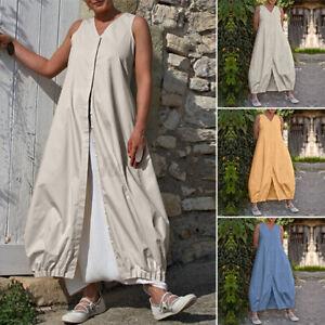 UK Women Summer Sleeveless Casual Loose Long Vest Dress Beach Sundress Plus Size