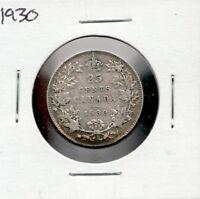 1930 Canada 25 Cents,  A fine silver quarter coin