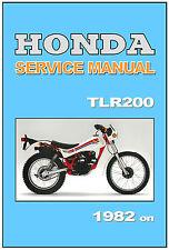HONDA Workshop Manual TLR200 Reflex 1982 1983 1984 1985 1986 1987 Service Repair