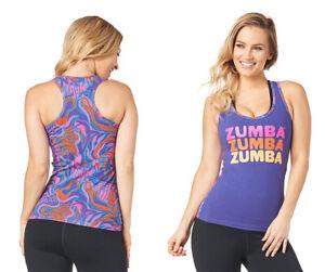 Zumba Peace Love Zumba Racerback Tank Top - Grape Purple ~ XS  S  L  XXL