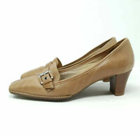Clarks Leather Tan Court Shoes Square Toe Heels UK 5.5