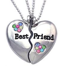 Best Friend BFF Colorful Split Heart Friendship Pendant Necklace Women Jewelry