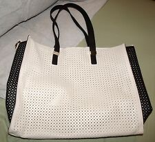 Black and Off-White Textured Open Hole Pattern Faux Leather Large Tote Bag