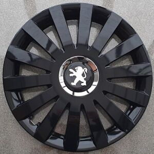 """Black Gloss 4 x 14"""" wheel trims,hubcaps  to fit Peugeot 107"""