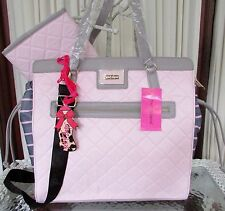 Betsey Johnson Diaper Bag NS Quilted Weekender Tote Bag Gray Pink Blush NWT
