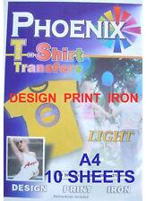IRON ON T TEE Shirt LIGHT Transfer Paper A4 10 Sheets Phoenix Brand