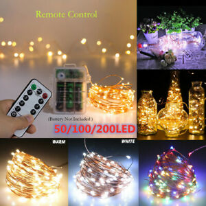UK 50/100/200 LED Battery Micro Rice Wire Copper Fairy String Lights Party Xmas