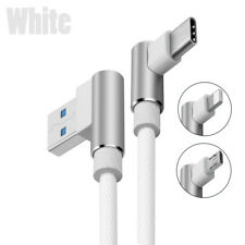 Braided 90 Degree Right Angle Type C/IOS/ Micro USB Fast Data Sync Charger Cable