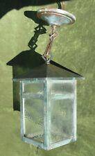 Vintage Arts & Crafts Mission Copper Glass Lantern Hanging Lamp Light