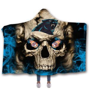 Carolina Panthers Hooded Blanket Fleece Sherpa Throw Cloak Wearable Blankets