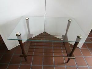 """Mid Century Atomic Wood Coffee Table Glass Top 1960's 20 ½""""H tapered legs 30"""" W"""