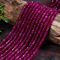 """2x4mm Natural Fuchsia Jade Faceted Rondelle Gemstone Loose Beads 15"""" AAA DIY"""