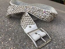 Gorgeous White Studded belt with Crystals Sky Belt Size Large
