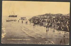 Postcard Mablethorpe Lincolnshire crowded beach Shipwreck posted 1914 shipping