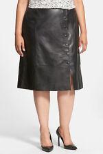 Sejour Genuine Lambskin Leather Midi Skirt Black 20W NWT $298