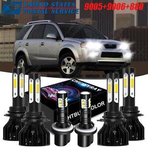 For Saturn Vue 2006-2007 4side 6000K White LED Headlight Fog Lamp Combo Bulbs