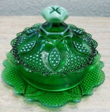 WESTMORELAND GLASS EMERALD GREEN OPALESCENT HIGH HOB BUTTER DISH SUPER RARE HTF