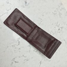 Fossil Magnetic Genuine Brown Leather Card Holder Money Clip Wallet