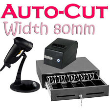 Printer USB 80mm-paper Speed Autocut Cash Drawer barcode Scanner Stand Receipt