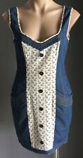 Fab BLUEJUICE Denim & Anchor Print Fabric Sleeveless Sheath Dress Size 8