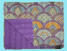 Queen Size Kantha Quilts Coverlets Home Bedding Bedspreads Purple Color Blankets
