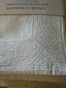 Luxury Embroidered Matelasse White Shower Curtain 72 x 72 Decor Cotton Poly