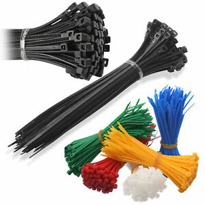 Packs of 100 Cable Ties Nylon Zip Tie Wraps Strong - All Sizes & Colours