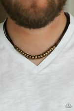 NEW Paparazzi Mens chain ON THE TREASURE  HUNT brown  cording brass beads