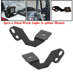 2xDual UTV ATV Work LED Light Bracket A-pillar Strip Lamp Mount Fit For Polaris