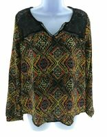 Sweet Wanderer Womens Multi Color Long Sleeve V Neck Top Casual Blouse Size S