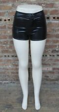 NWT Ladies Black WET LOOK Short Shorts Size M NEW