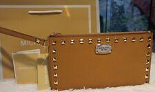 NWT MICHAEL KORS SAFFIANO STUD Zip Clutch Wristlet Purse ACORN/Gold Leather $128