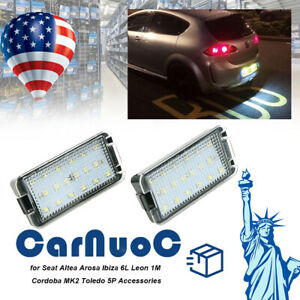 2 x Auto Led Rear License Plate Lights Lamps Fit For Seat Altea Arosa Ibiza