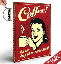 RETRO VINTAGE COFFEE SPOOF POSTER THICK BOARD A4 WALL ART SHOP DISPLAY DECOR RED