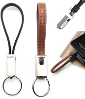 Leder Schlüsselanhänger Ladekabel schwarz kurz 2 in 1 Micro-USB Lightning Apple