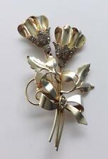 Flowers Brooch Or Pin 28.8 Gr ~Br9~ 925 Sterling Silver Cubic Zirconia 2 Tulips