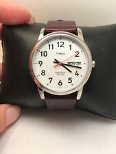 Timex T20041, Men's Easy Reader Brown Leather Watch, Indiglo, Date-H61