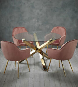Dining set round glass table with gold legs and 4 pink velvet dining chairs